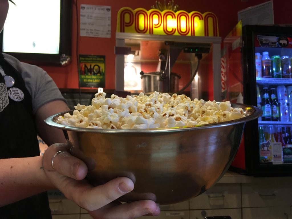 A reusable popcorn bowl at the Roxy Theater in Missoula, Montana.